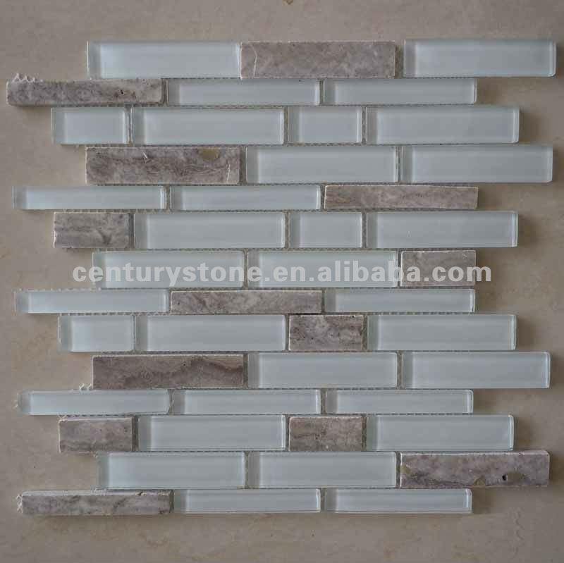Super vetro bianco grigio mix travetine mosaico di pietra for Paraschizzi cucina mosaico