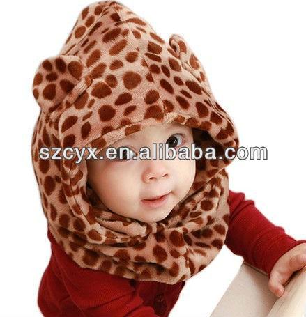 kış peluş hayvan leopar şekli bebek moda çocuk bebek şapka
