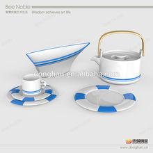 Sail theme Ceramic Tea Set With Metal Handle