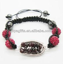 crystal pendant woven bracelet Woven Garnet chip lucky tree gemstone and 10MM Pink Crystal balls woven bracelet