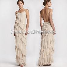 latest women fashion backless high quality ruffle bandage long designer dress designer long dress