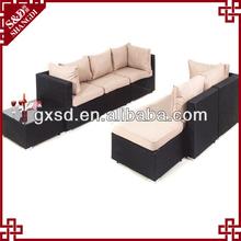 Sd novo design do chinês móveis de vime sala em forma de l sofá