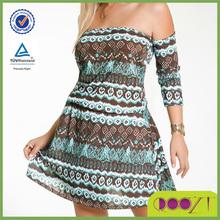 stripes print off shoulder lady dress wholesale