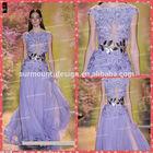 2014 New Arrival Short Sleeve Lace Applique Purple Chiffon Long Zuhair Murad Dress For Sale