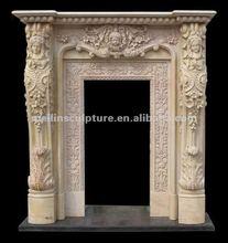 beige marble door frame with beautiful ladies