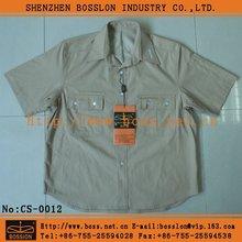 Military Men's hort Sleeve Cotton Khaki Dress Shirt