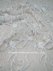 high quality white lace embroidery fabric design with hand embroidered beaded tulle fabric for wedding dress