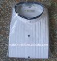 """2015 branco com faixas pretas colarinho trim 1/4"""" plissado camisa de smoking"""