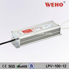 100% Guarantee single output led driver ip67 Waterproof 12v 100w power supply