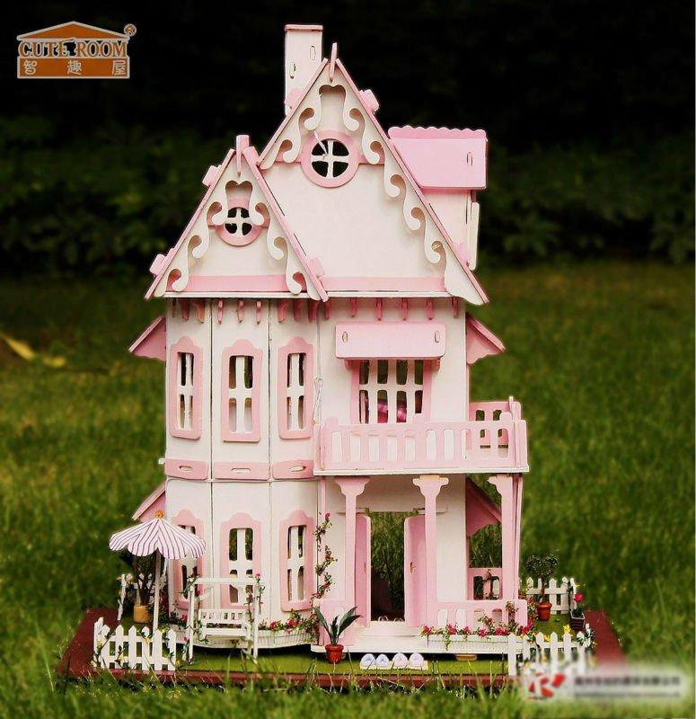 Bricolaje de casa de muñecas en miniatura, los niños de madera casa de juego, juguetesdemadera colorida casa de muñecas