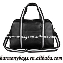 Hot selling black custom leather duffle bag