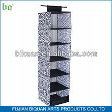 BQ 6 shelf zebra fabric wall hanging storage organizer