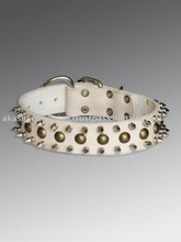 white Leather dog collar