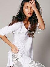 t shirt , alibaba china supplier plain t shirt, wholesale women clothing white cotton fabric plain t shirt