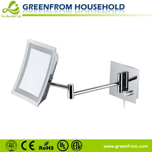 Single Side LED Wall Square Compact Mirrors with Extendable Arms