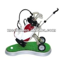 Meelun Golf Gifts Leather Bag Pen Holder with Cart&Grass