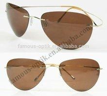 beta titanium sunglasses rimless silhouette sunglasses with PC polarized lens