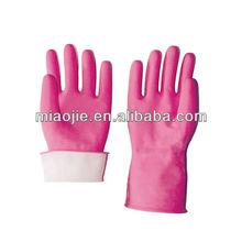 pink flocklined household rubber gloves