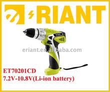 New design! Popular item professional 7.2V / 10.8V Li-ion battery cordless drill