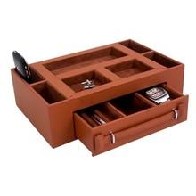 Brown leather ornament storage box
