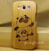 Hot sale! High quality Cute Panda Carven Bamboo wood Hard phone Cover case for samsung Galaxy S3 III i9300