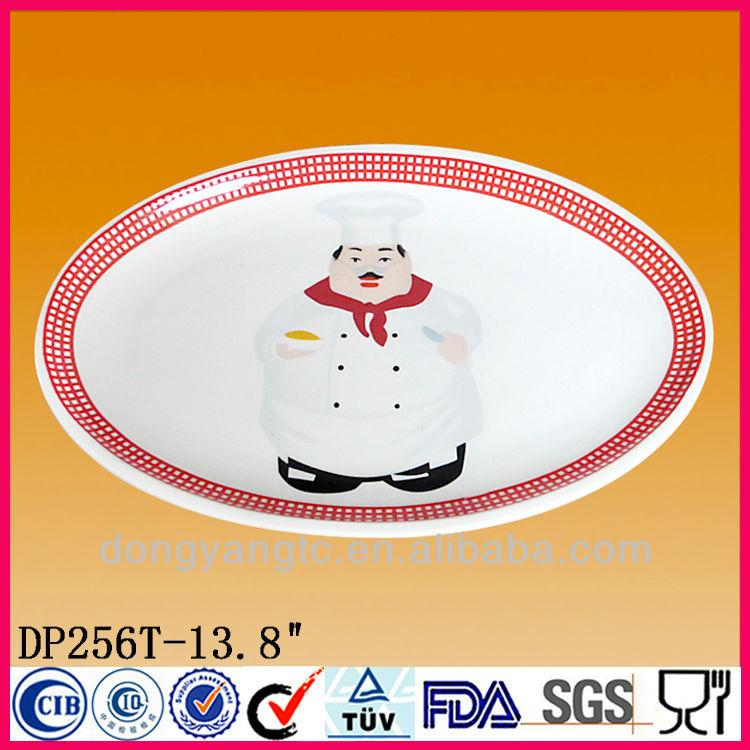 Custom 13.8 Inch oval-shaped white ceramic plate