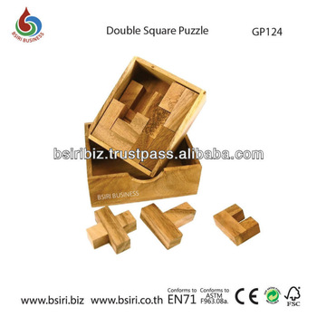 wooden brain teaser Double Square Puzzle
