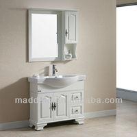 Western European White Freestanding Old Bathroom Vanity