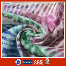 Stripe print burnout knit polyester jersey fabric