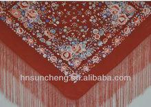Luxury Spanish flamenco piano shawl manton de manila -100% handmade silk embroidery-135cm