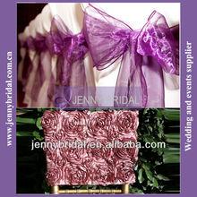 SH001P purple organza chair sash for wedding