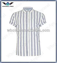 Moda azul claro e branco formal faixa de algodão listrado camisa para homens, camisa dos homens