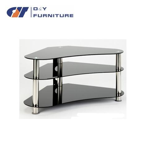 Noir meuble tv en verre pour 32 42 lcd led plasma tv pour coi - Meuble tv en verre ikea ...