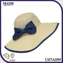 Ladies wide brim fashion straw beach hat with bow decoration