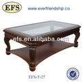 Pas cher table basse en bois massif avec dessus en verre( efs- t- 27)