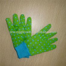 Ladies blue dot on green cotton garden gloves