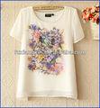 Top mulheres vendendo elegante floral chiffon de impressão t-shirt