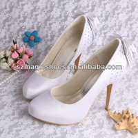 (12 Colors)White Satin Wedding Shoes with Bows