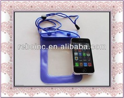 eco pvc waterproof bag for iphone 5 with lanyard
