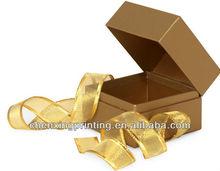 """BULK Metallic Gold MINI SQUARE SQUARE paper Box w/ Ribbon 2-3/4x2-3/4x2"""""""
