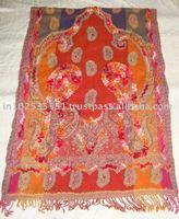 100% Wool jamawar shawl with fancy wool embroidery
