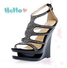 beliebte stilvolle 2014 schwarz sexy sandalen für frauen mit kristall