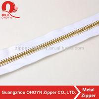 fashion Metal Zips white tape long chain metal zipper light gold teeth metal zipper
