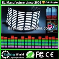 Hot selling el car sticker equalizer CE/ROHS/LED Sound Activated EL Sheet Car Music Sticker Equalizer Glow Flash Panel Multi