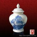 azul e branco da paisagem pintada de chá em cerâmica latas hermeticamente