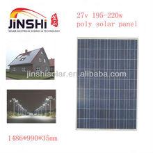 27v poly solar cells panel 195w 200w 205w 210w 215w 220w with IEC, TUV, CE, ISO, CEC