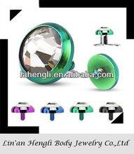 Titanium Anodized body jewelry Internally Threaded Flat Dome CZ Fashion Dermal Top Jewelry, piercing jewelry