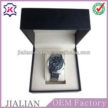 Fashion PU leather black wooden watch display box/case