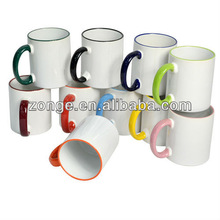 white blank coated handle and rim color mug for sublimation printing