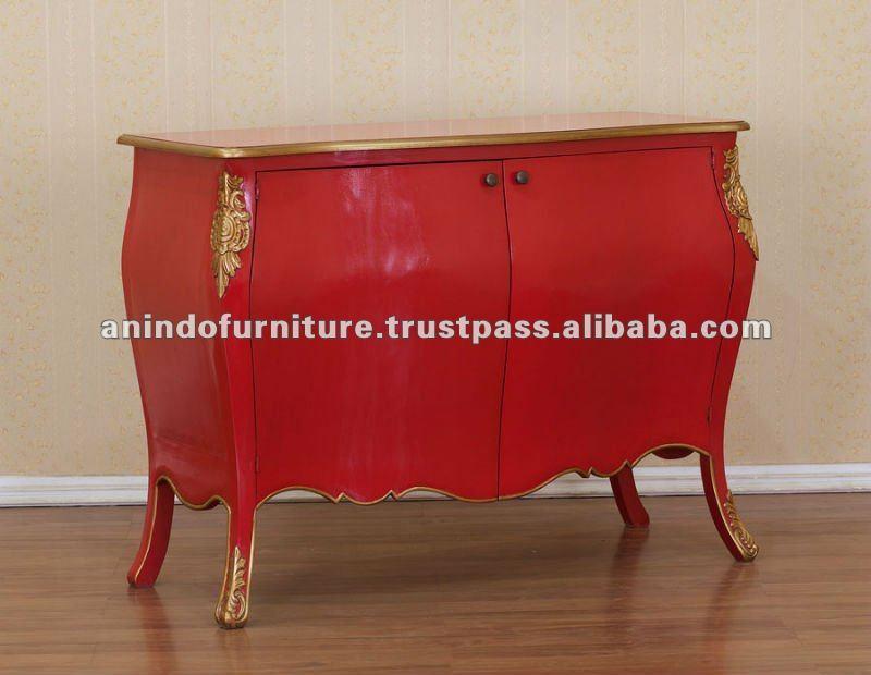 Francés muebles pintados  chino rojo inodoroOtros muebles antiguos